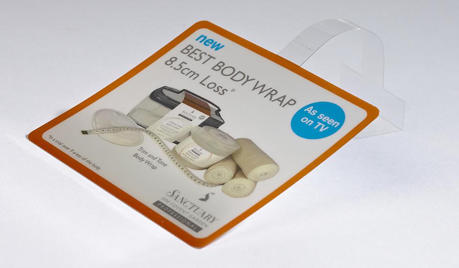 UV Litho on Plastics shelf talker, shelf strip, wobbler