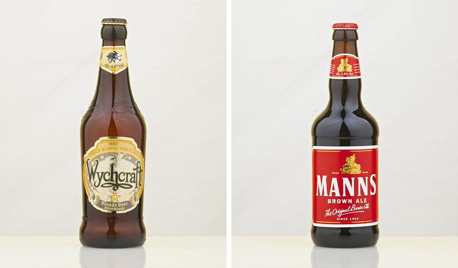 Beer bottles wet glue label