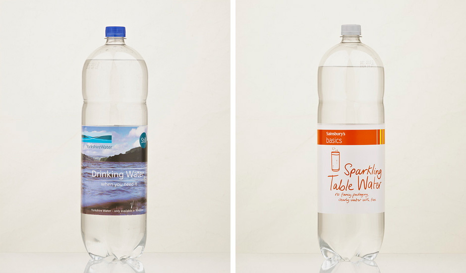 Water bottles wet glue label